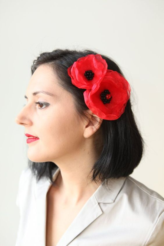 Red organza layered flower clip, hair clip brooch combo, multiple layers clip, black seed beads, Boho-chic fashion, red poppy hair accessory #virginhair: