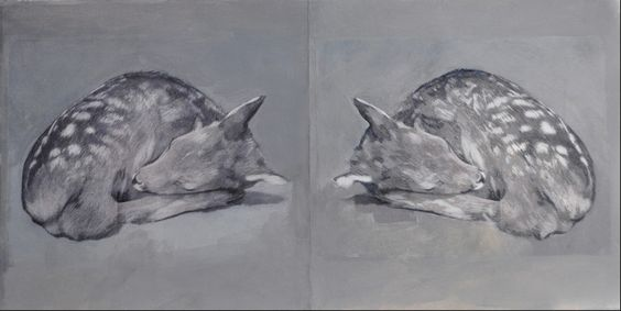 Double Fawn- Lisa Qualls (Houston artist) Acrylic and colored pencil on paper