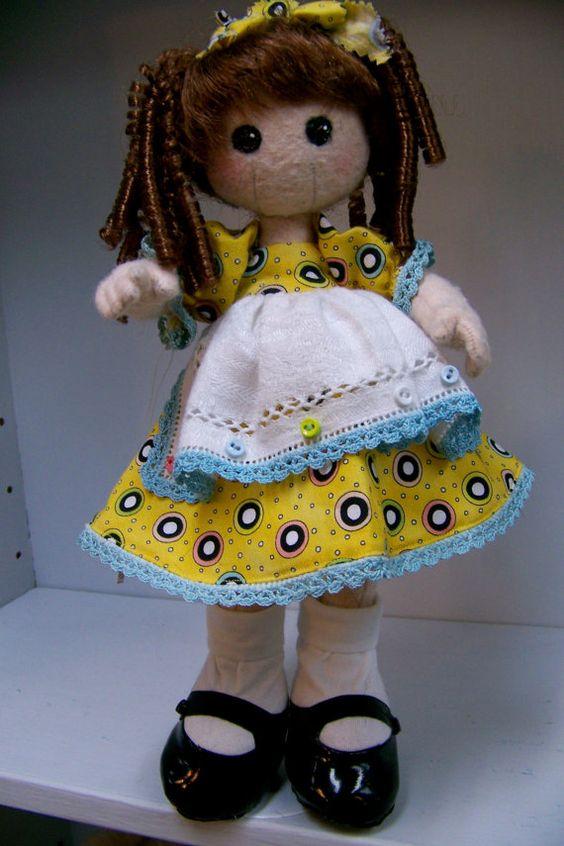 Sweet wool felt doll by SmithartsArtDolls on Etsy