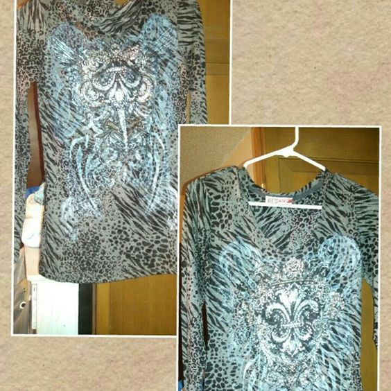 Hooded Rhinestone Top with a hood Bought from a boutique. Front and back has rhinestones. 50% Polyester 50% Cotton Bus Stop Tops