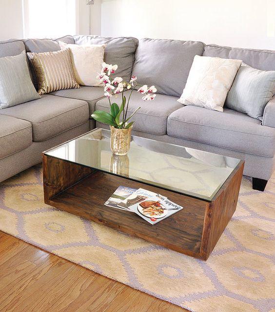 Modern Glass And Wood Coffee Table : ... .etsy.com/au/listing/234107167/see-u-table-custom-modern-coffee-table