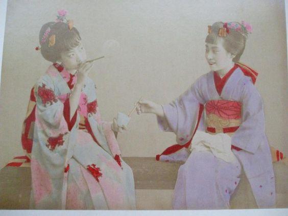 2 PHOTOGRAPHS ALBUMEN 1800s JAPAN GIRLS IN KIMONOS BLOWING BUBBLES VIEW OF RAKU