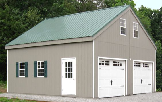 Cars metal roof and garage on pinterest for Modular 2 car garage with apartment