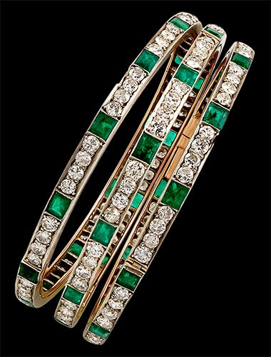 Circa 1930 Diamond & Emerald Bangles - Would love as a ring with the birthstone of each kid on each band.