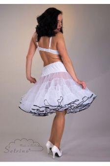 Ein knielanger weißer Petticoat im modernen 50s-Style aus Organza mit sehr gutem Stand. Der blütenförmig aufschwingende Unterrock formt eine schmale Taille und Hüfte. Der Petticoat-Rock schmückt gerne auch ein Brautkleid. Mit zwei gerüschten Lagenpasst der Petticoat zuweiten A-line Kleidern und Röcken. Sie werden begeistert sein von der Fülle.Zwei lagige Organza Petticoats sind ein MUSS f...