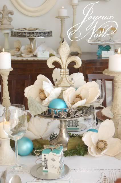 *White and aqua Christmas.