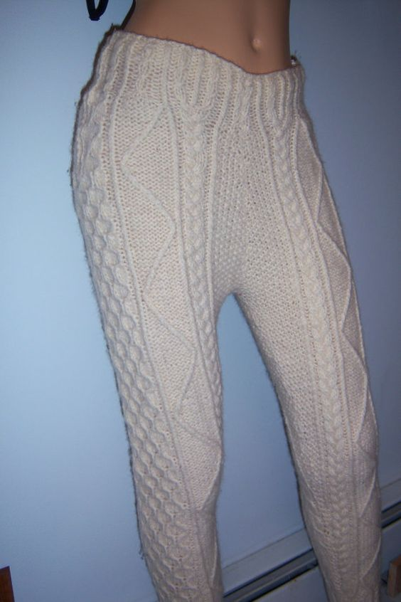 Vintage Very Thick Sweater Cable Knit Tights With Side