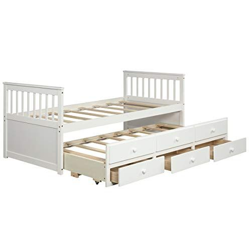 Giantex Twin Captain S Bed With Trundle Bed Wood Storage Daybed With 3 Storage Drawers Bunk Daybed With Storage Trundle Bed Wooden Platform Bed