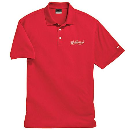 Budweiser nike pique polo shirt medium look and feel for Dri fit collar shirts