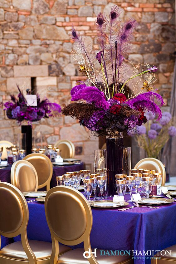 Purple gold feathers and feather centerpieces on pinterest