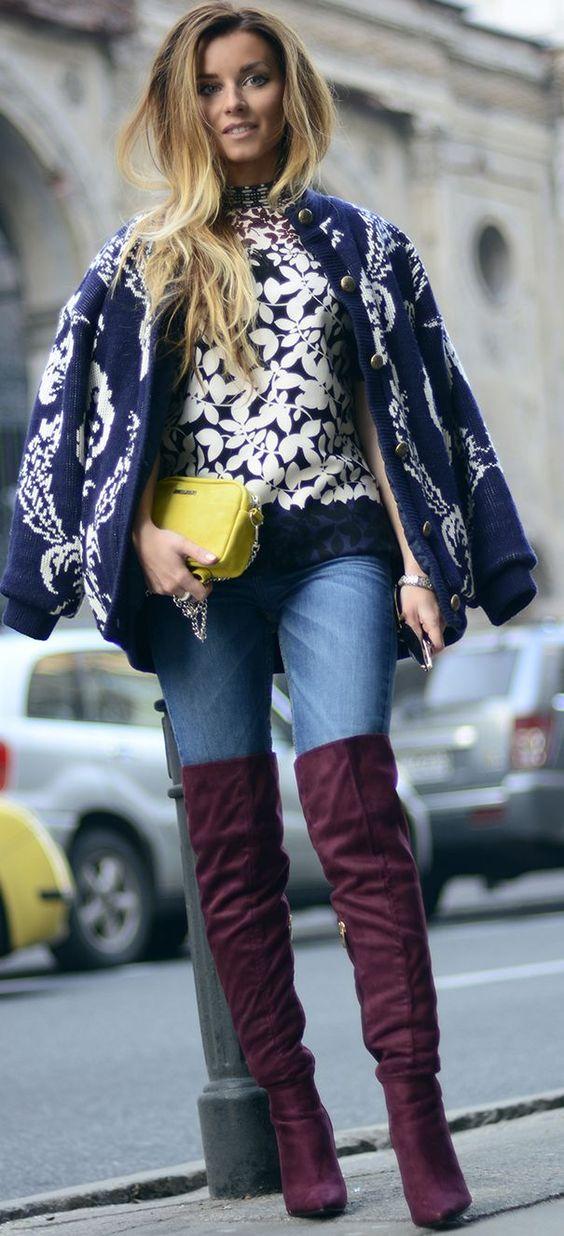 Hynoptizing Fashion Mix Patterns, Denim And Overknees Fall Street Style Inspo