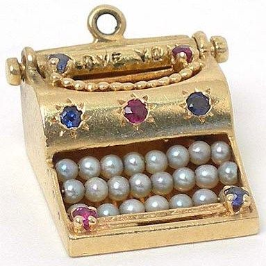 VINTAGE 14K GOLD GEMS MOVEABLE 3D TYPEWRITER CHARM: