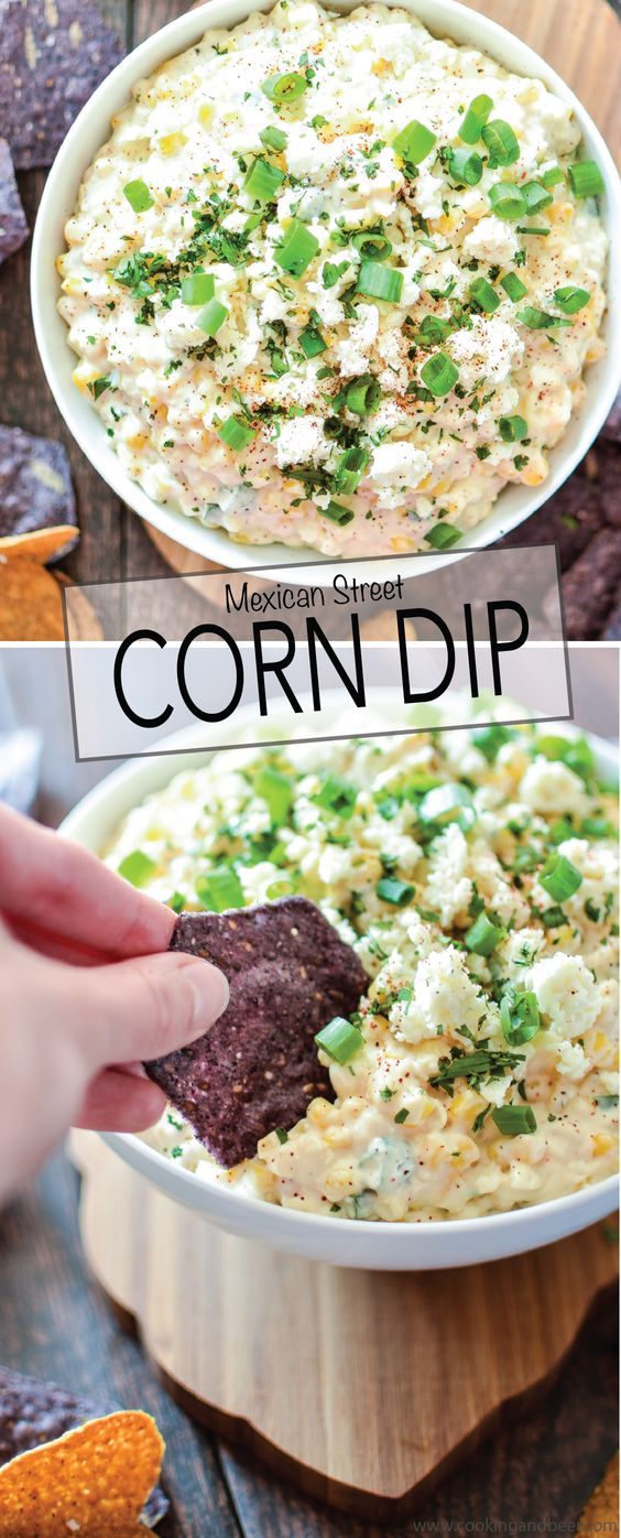 Mexican Street Corn Dip is the perfect appetizer to serve at your Cinco de Mayo party! | www.cookingandbeer.com: