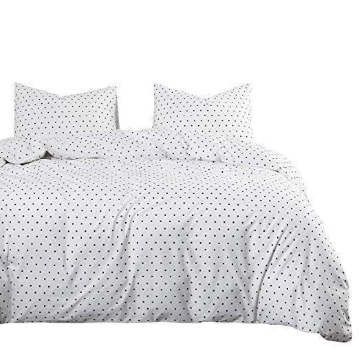 Wake In Cloud Polka Dot Duvet Cover Set 100 Cotton Bedding Black Dotted Modern Pattern Printed On White Wi Polka Dot Duvet Comforter Sets Duvet Cover Sets