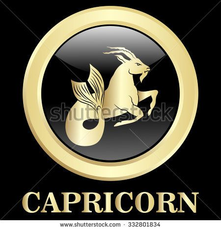 Capricorn zodiac sign in oval frame, vector Illustration. Contour icon.