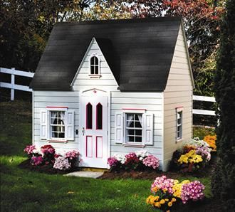 Princess Cottage    Pretty in pink. Victorian trim accents the door and shuttered windows. Features include brass hardware, a working doorbell, and a dormer window, a sunny skylight and stenciling. Base Size: 8'W, 6'D.