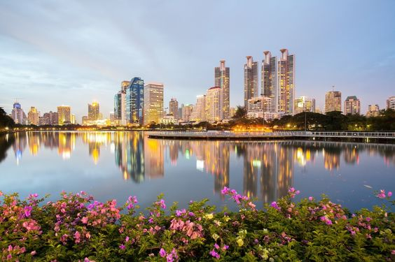 Таиланд Парки Небоскребы Бангкок Набережная Города