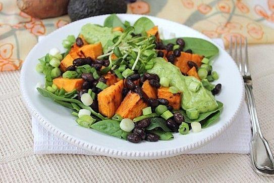 Sweet Potato Black Bean Creamy Avocado Dressed Salad (Brown Rice Miso, Orange Juice, Bragg's Aminos, Maple Syrup, Spinach, Scallions, Coriander) | Peachy Palate