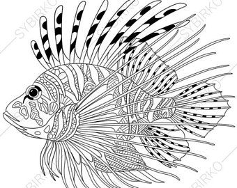 Coloring Pages For Adults Digital Coloring Page Seahorse Etsy Lion Fish Lion Coloring Pages Animal Coloring Pages