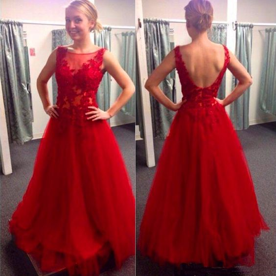 Ulass New Fashion Long Red Prom Dresses Sexy Backless Tulle Homecoming Dress With Lace Appliques