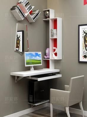 Small Family Model Bedroom Corner Computer Desk A Combination Corner Contracted Hanging Desk Shelf Hanging Wa Corner Computer Desk Computer Table Design Desk