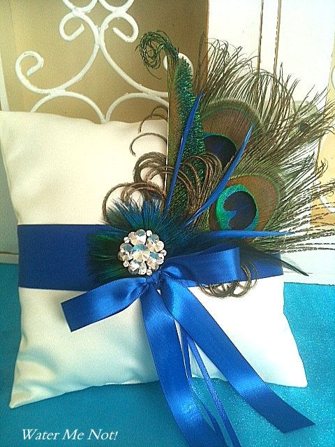 Lets Customize this Peacock Ring Pillow - Perfect for your Peacock Wedding. $35.00, via Etsy.