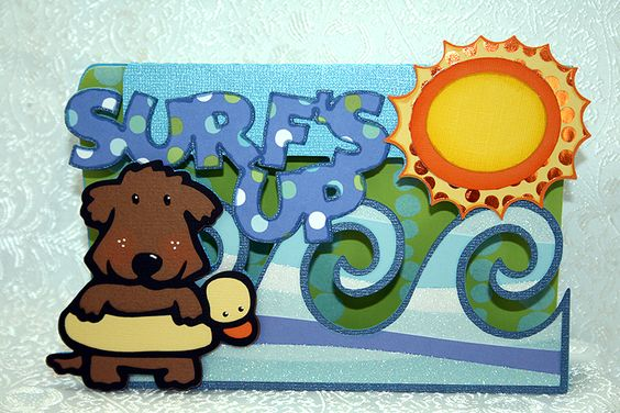 Threadbear/Linda's fabulous card using the cute little dog with the floaty from Paper Pups. The waves are from Life is a Beach, sun from Mickey & Friends, and font from Mickey Font. Everything was welded together in Design Studio.