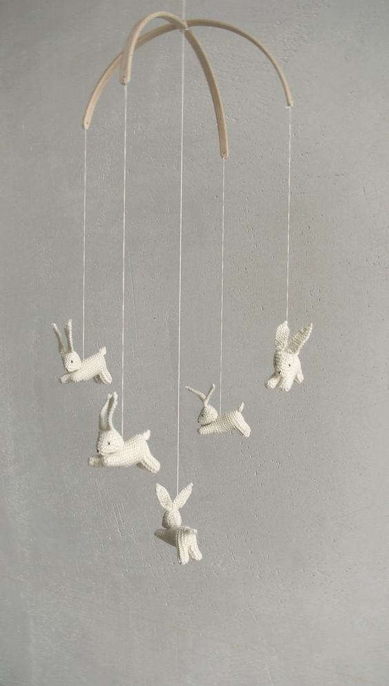 Baby crib mobile  / bunnies mobile / rabbit mobile / JOYFUL SPRING / made to order. $109.00, via Etsy.