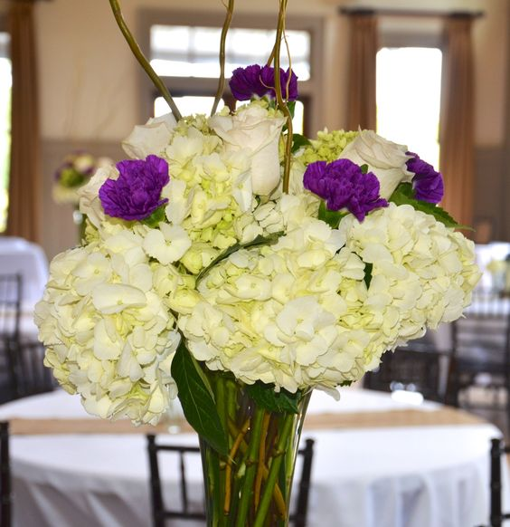 Hydrangea and rose centerpiece by reynolds treasures