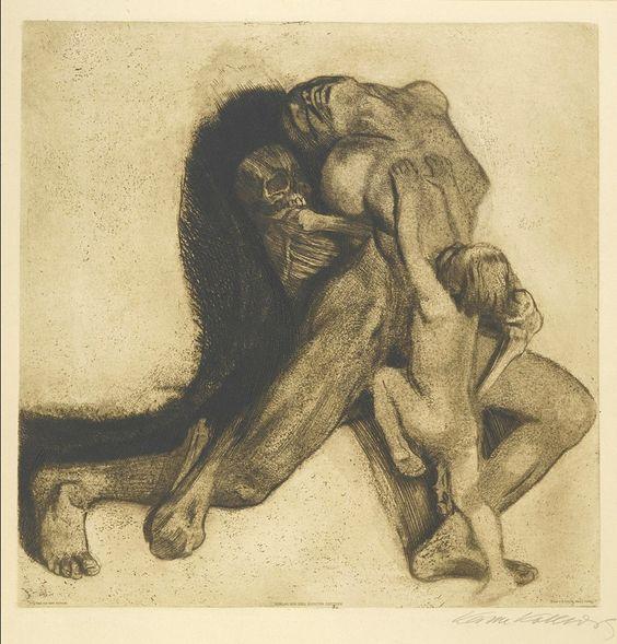 Käthe Kollwitz (German artist) 1867 - 1945 Tod und Frau (K. 103; Kn. 107, 1910 soft-ground etching, drypoint and roulette on wove paper
