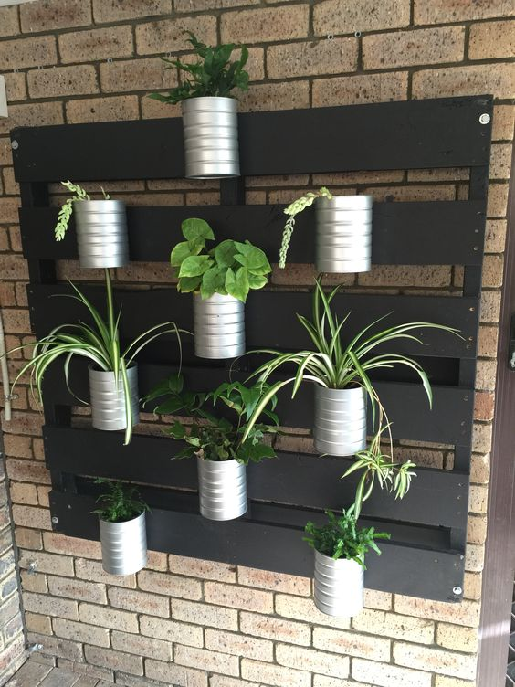 Vertical garden made from old pallet sanded back and painted black & formula tins spray painted silver.