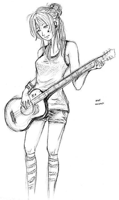 Girl with guitar drawing