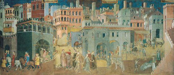 Ambrogio Lorenzetti, Les Effets du Bon gouvernement dans la ville, 1337-1339. Fresque de la Salle des Neuf du Palais Publique de Sienne.