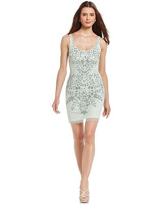 Adrianna Papell Beaded Sequin Sheath -Would make a beautiful winter dress, because the sequins look like sparkly snowflakes, only.....Brrrrrrr