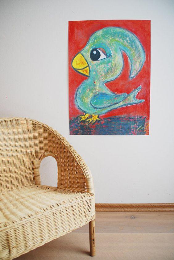 A2 Kinderzimmerposter Vögelchen von LittleWalkingWolf auf Etsy // nursery poster bird