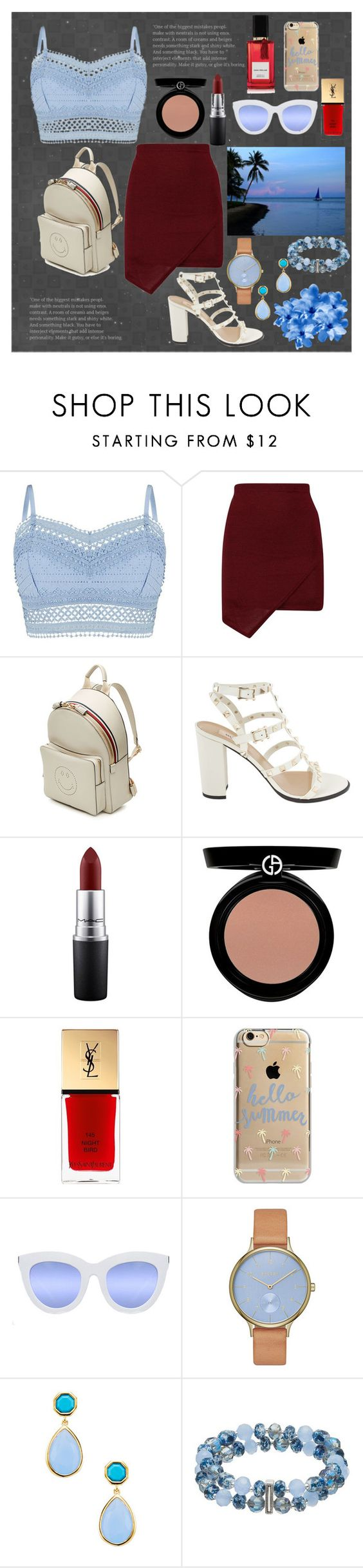 """Beach Walk"" by turikinga on Polyvore featuring Lipsy, Anya Hindmarch, MAC Cosmetics, Giorgio Armani, Yves Saint Laurent, Agent 18, Quay, Skagen, Napier and Diana Vreeland Parfums"