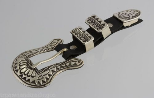 Navajo-Sterling-Stamp-Design-Ranger-Buckle-by-Leonard-Maloney-Native-American