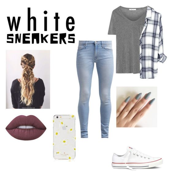 """""""White sneakers"""" by footballgirl9 ❤ liked on Polyvore featuring Converse, 7 For All Mankind, T By Alexander Wang, Kate Spade and Lime Crime"""