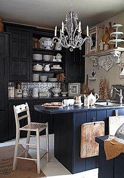 love this dark kitchen