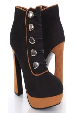 Black Faux Suede Two Tone Marching Band Style Ankle Boots
