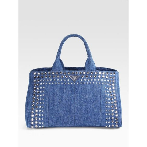 Prada Studded Gardner Canvas Tote ($1,295) ❤ liked on Polyvore