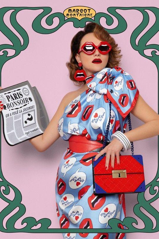 """""""C'est ahh ..."""" lautet der Name des Lippenmotivs von Yaz Bukey. Hier wird es für Sonnenbrille, Ohrringe, Tasche und Kleid eingesetzt"""