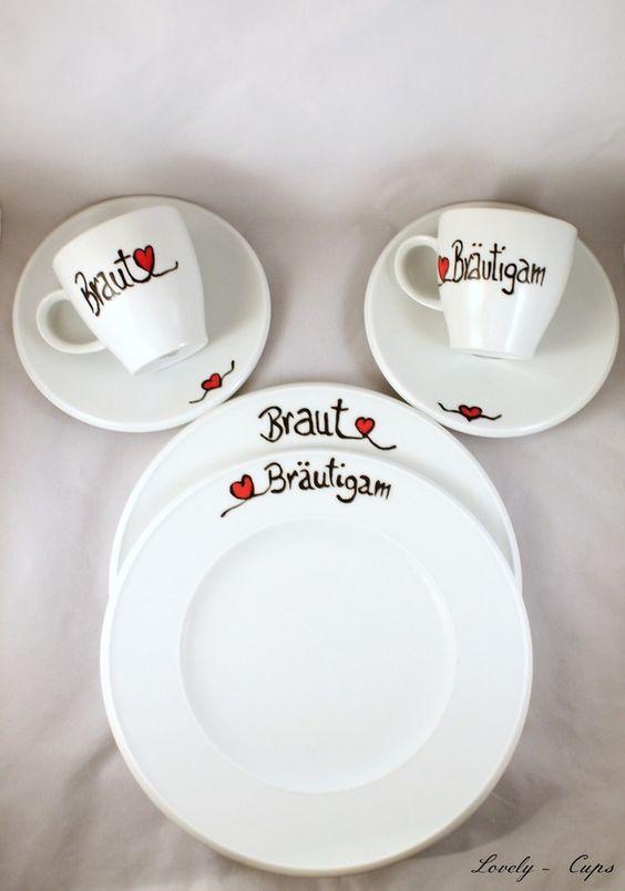 personalisiertes Hochzeitsgeschenk Kaffeeservice  Porzellan bemalen  Pinterest