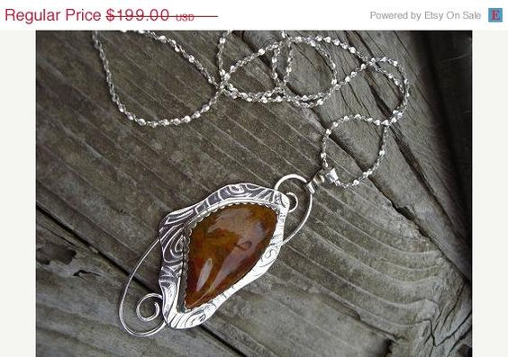 ON SALE Sterling silver necklace with rooster tail agate