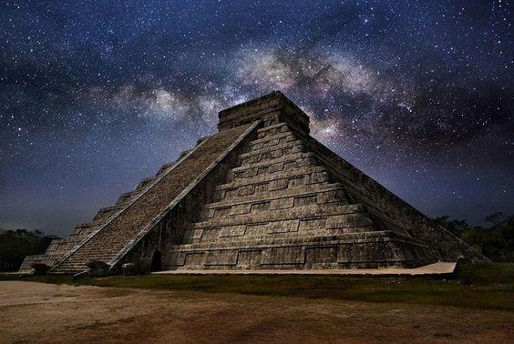 The milky way over El Castillo Pyramid, Mexico
