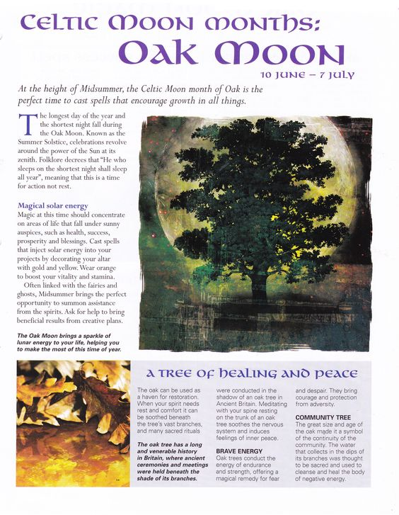 Moon: Celtic Moon Months: Oak Moon.