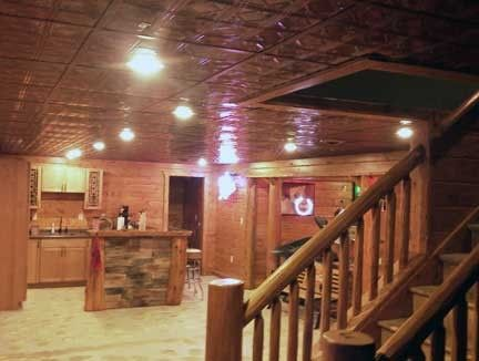 Duane chose Fasade ceiling tiles in Traditional 4 for his basement ceiling.