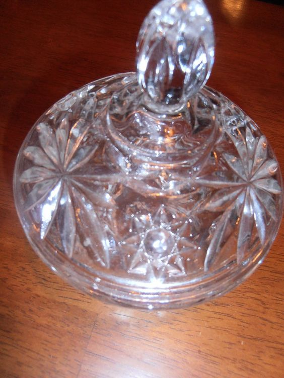 VTG Anchor Hocking American Clear Pressed CuT Glass Covered Candy Compote Bowl  #AnchorHocking Ebay nannysattic15