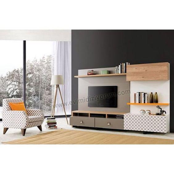 Elegante Wohnwand Carmen Wohnwand 4- teilig bestehend aus 2 x - moderner wohnzimmerschrank mit glastüren und led beleuchtung