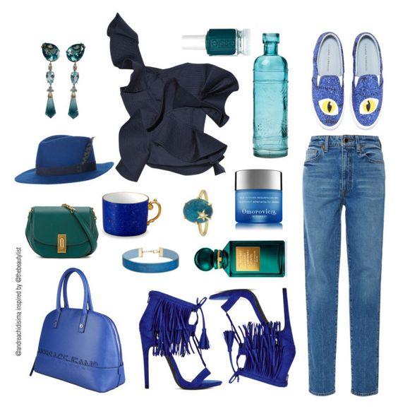 """Monochromatic blue"" by andreachidisima on Polyvore featuring moda, Khaite, Versace, Johanna Ortiz, House of Lafayette, L'Objet, Essie, Marc Jacobs, Tom Ford y Omorovicza"